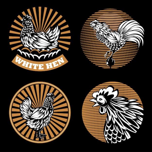 Set of agricultural emblems on a black background. Premium Vector