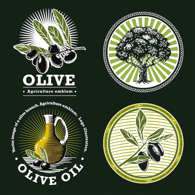 Set of agricultural emblems on a green background Premium Vector