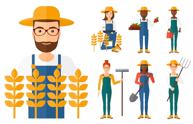 Set of agricultural farmers. Premium Vector