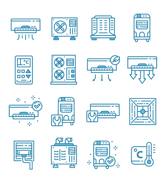 Set of air conditioner icons with outline style Premium Vector