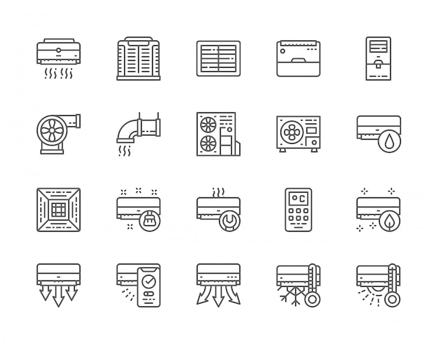 Set of air conditioning line icons. Premium Vector