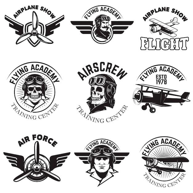 Set of air force, airplane show, flying academy emblems. vintage planes.  elements for logo, badge, label.  illustration. Premium Vector