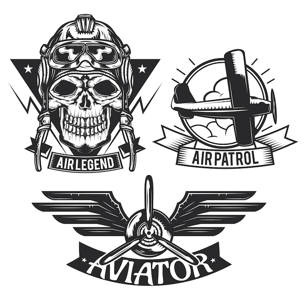 Set of aircraft elements emblems, labels, badges, logos. Free Vector