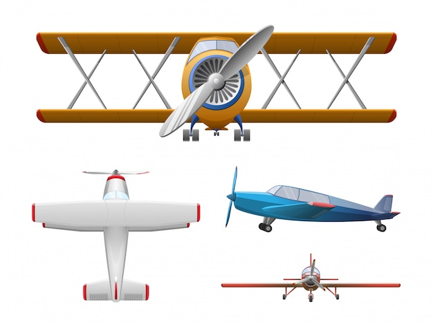 Premium Vector Set Of Airplane In Cartoon Style Isolated Agricultural Propeller Plane