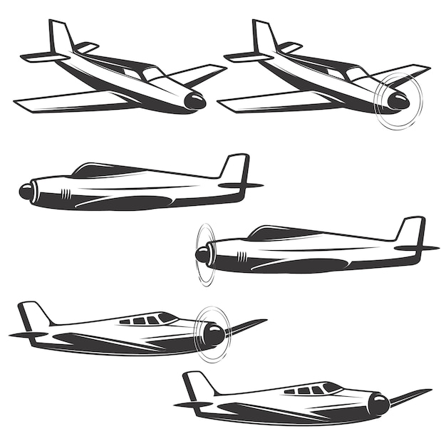 Set of airplane icons  on white background.  elements for logo, label, emblem, sign. Premium Vector