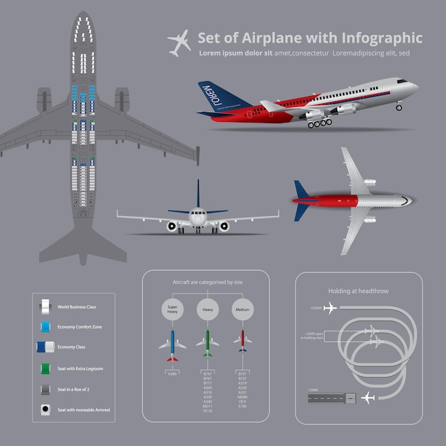 Set of airplane with infographic Premium Vector