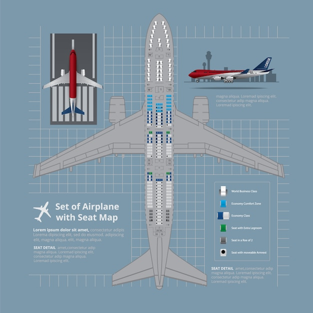 Set of airplane with seat map isolated illustration Free Vector