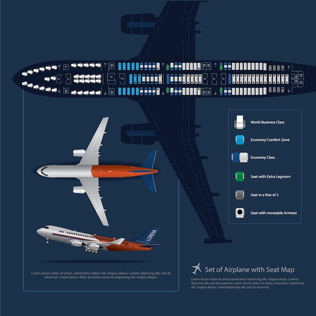Set of airplane with seat map isolated vector illustration Premium Vector