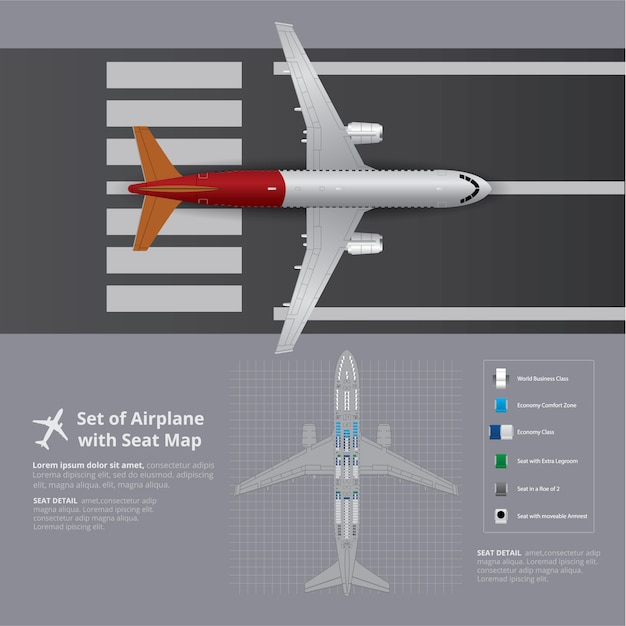 Set of airplane with seat map template Free Vector