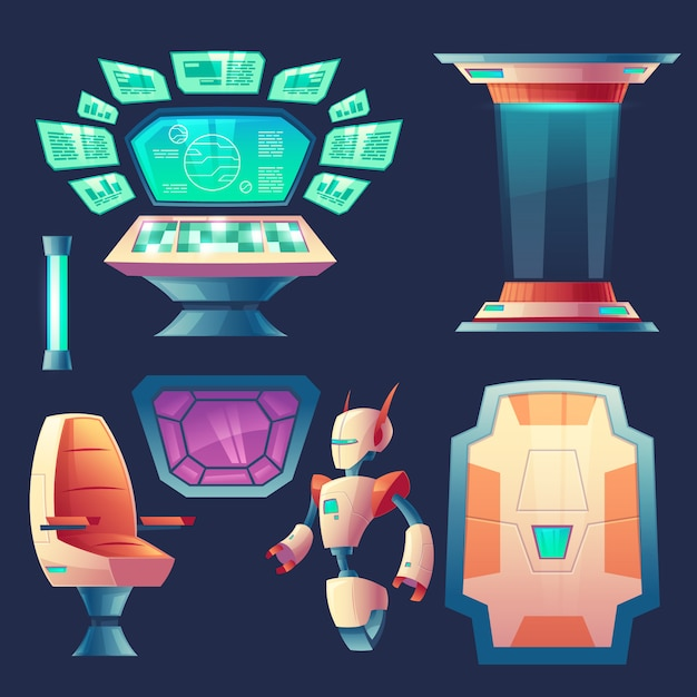 Set of alien spaceship elements. control panel with screens for cockpit in rocket. Free Vector