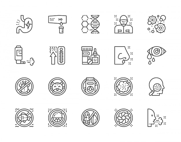 Set of allergy and allergens icons Premium Vector