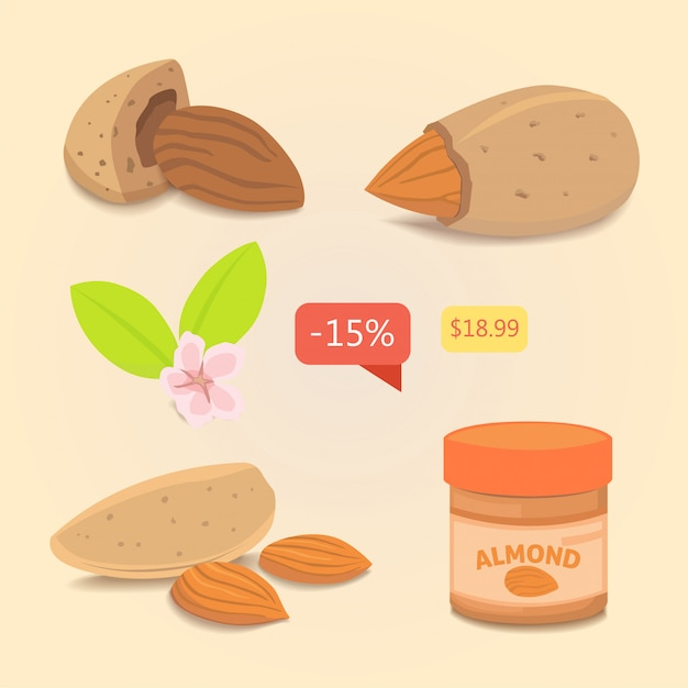 Set almond. vector collection of nuts illustration Premium Vector