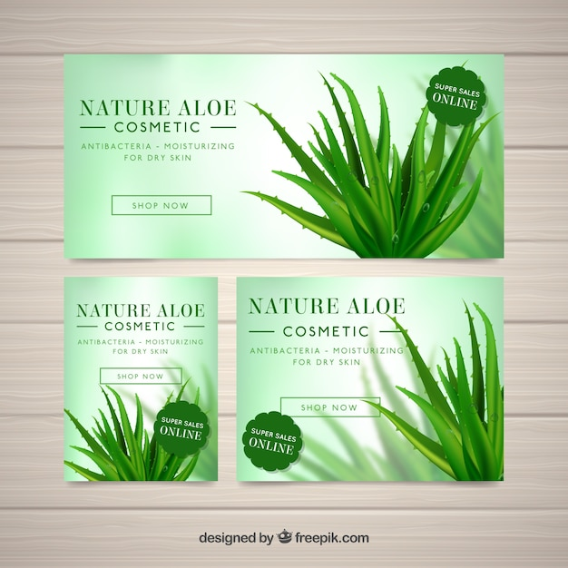 Set of aloe vera banners Free Vector