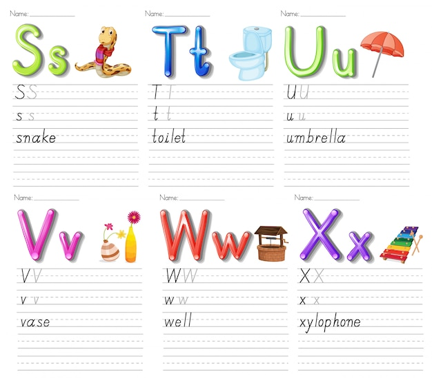 Set of alphabet worksheet on white paper Free Vector