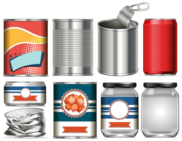 Set of aluminium cans with label design on white background Premium Vector