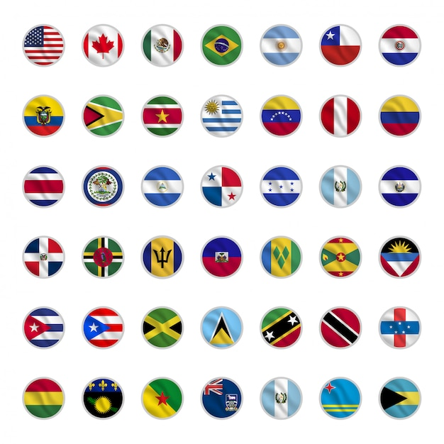 Set of american country flags with circle shapes waving style Premium Vector