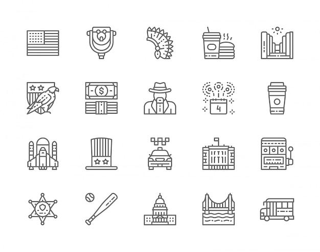 Set of american culture line icons. bald eagle, cowboys, school bus, fast food, sheriff star badge, casino, baseball bat and more. Premium Vector