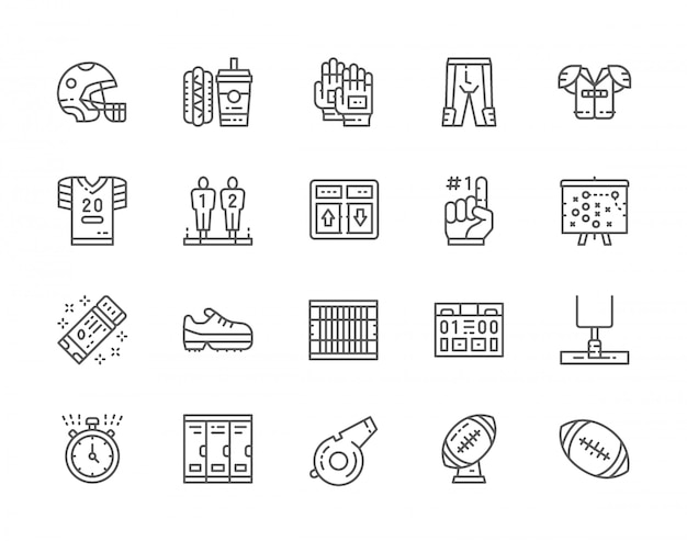 Set of american football line icons. game scoreboard, fast food, sports uniform, helmet, foam finger, plan scheme, stopwatch, referee whistle, ball trophy and more. Premium Vector
