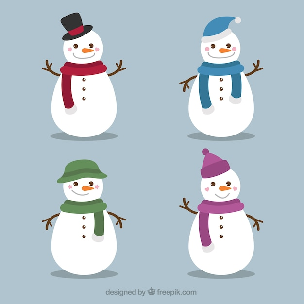 Set of amusing snowmen with scarf and hat Free Vector