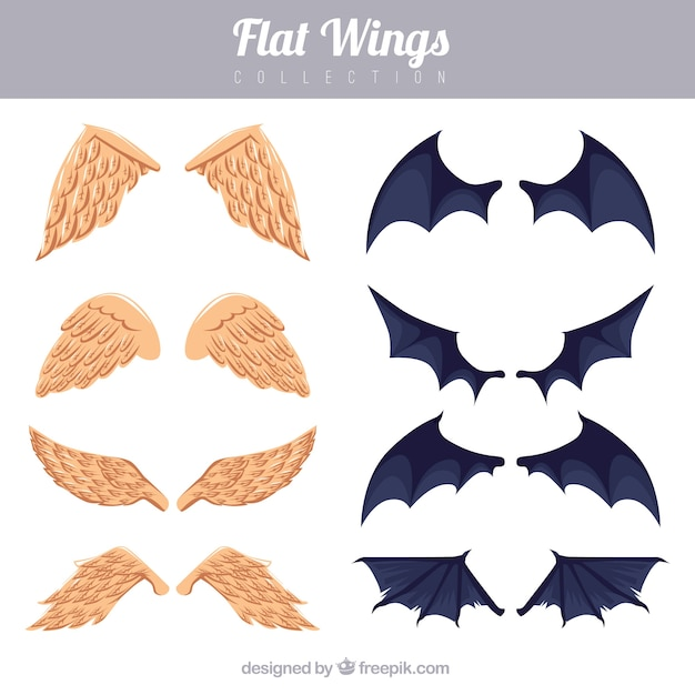 Set of angel and bat wings Free Vector