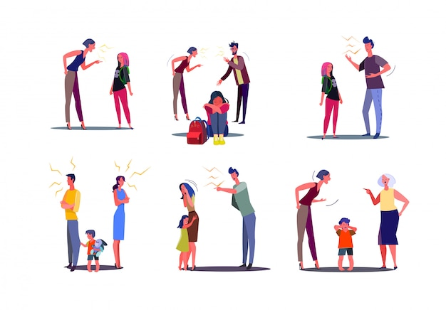 Set of angry people having conflict with wife, husband and child Free Vector