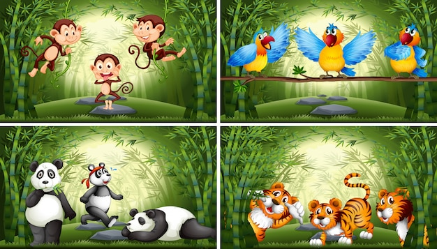 Set of animal in bamboo forest illustration Free Vector