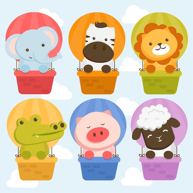 Set of animal character with elephants, zebras, lions, crocodiles, pigs and sheep in a balloon. Free Vector