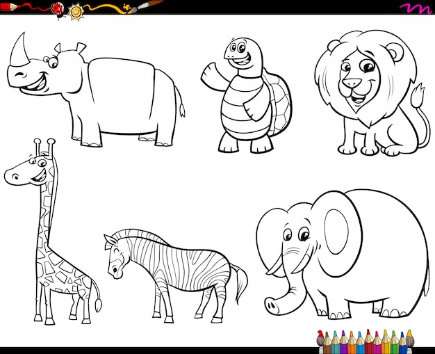 Set of animal characters color book Premium Vector