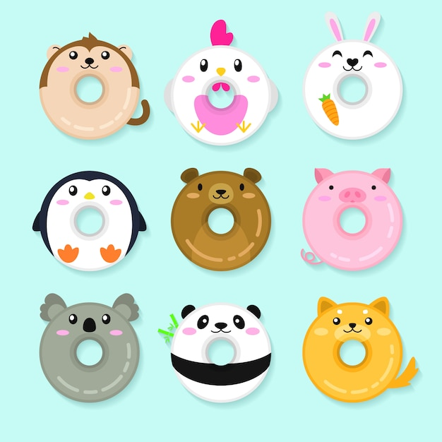 Set of animal donuts. cute animal illustration Premium Vector