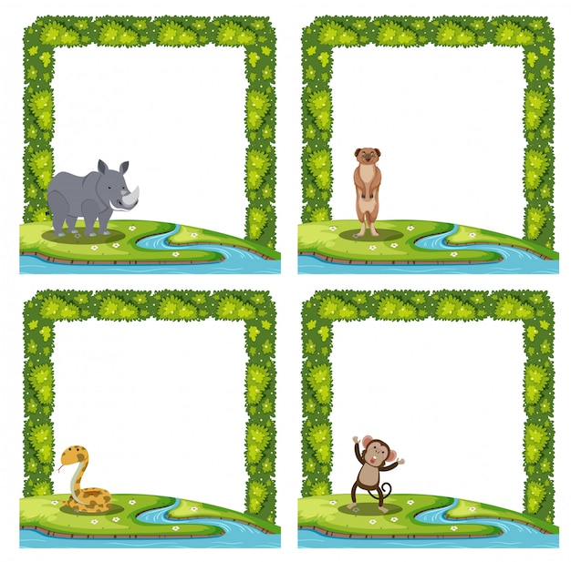 Set of animal frame Premium Vector
