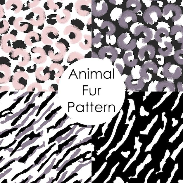Set of animal fur pattern. leopard, tiger, irbis abstract skin wallpapers Premium Vector