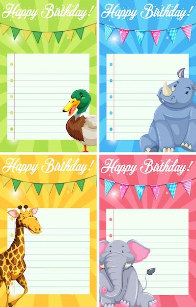 Set of animal happy birthday cards Free Vector