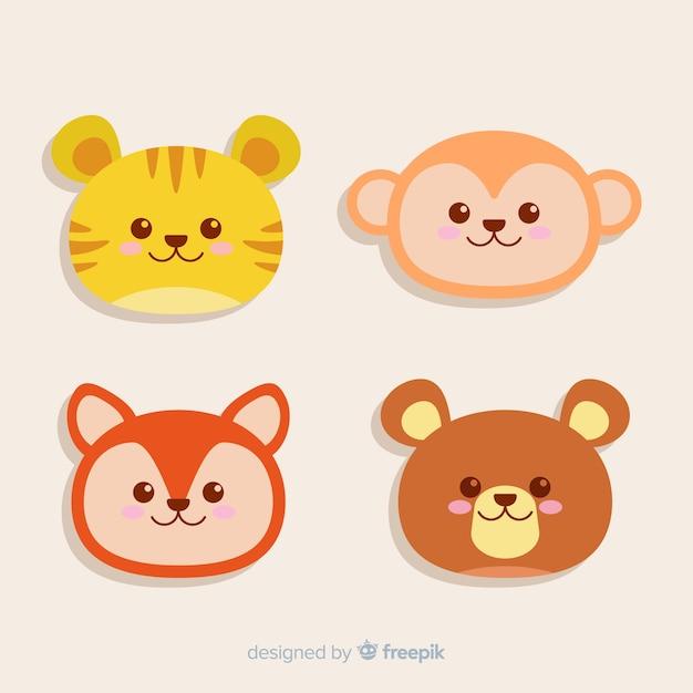Set of animal heads: tiger, bear, fox, monkey. flat style design Free Vector