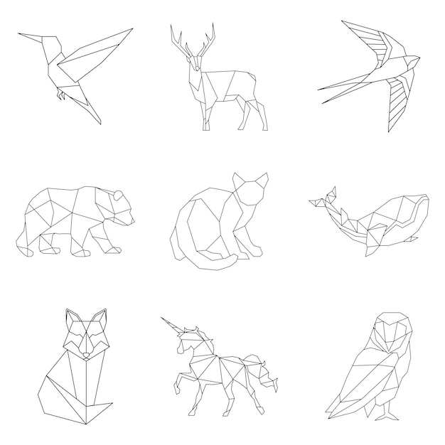 Set of animal linear illustrations Free Vector