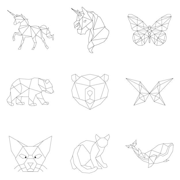 Set of animal linear illustrations Free Vector