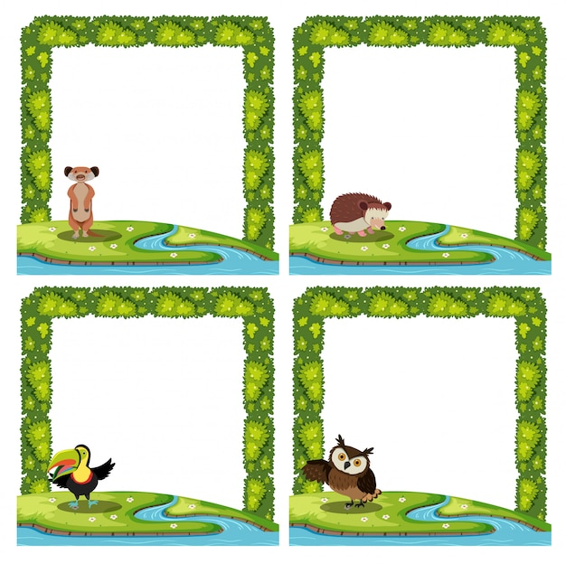 Set of animal nature template Premium Vector