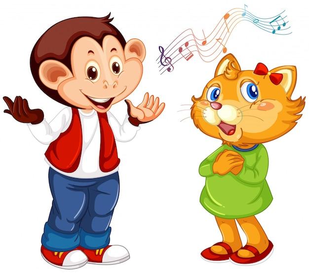 Set of animal perform music Free Vector