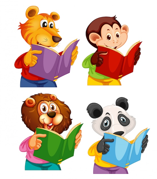 Set of animal reading book Free Vector
