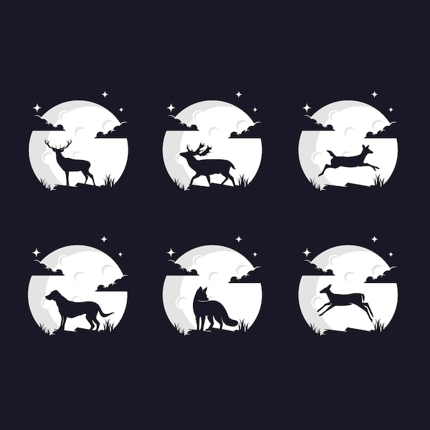 Set of animal silhouettes against the moon Premium Vector