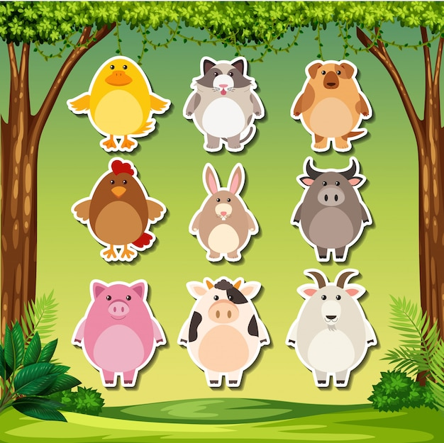 Set of animal sticker Premium Vector