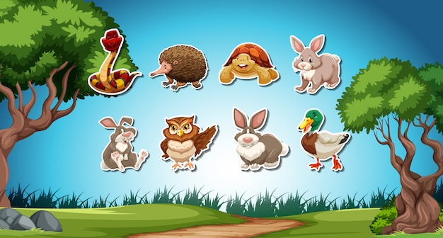 Set of animal stickers Free Vector