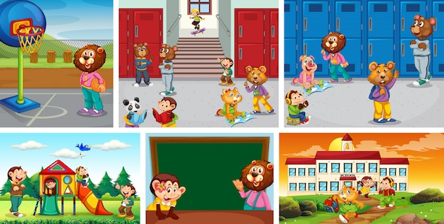 Set of animal student at school background Free Vector
