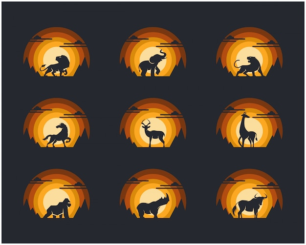 Set of  animal with cliff mountain and sky background. Premium Vector