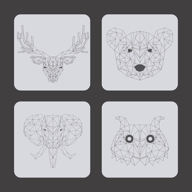 Set of animals over gray background Premium Vector