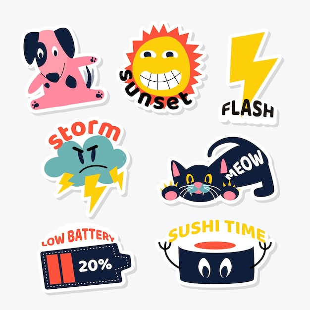 Set of animals and objects sticker design Free Vector