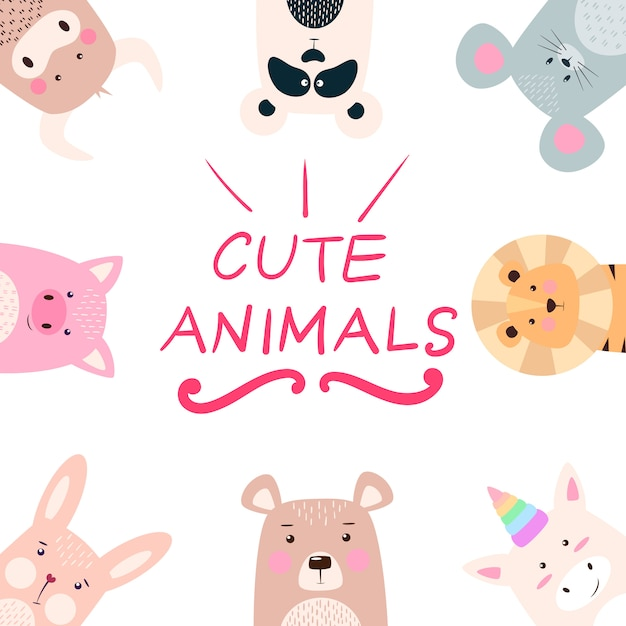 Set animals - panda, rhino, lion, bear, rabbit unicorn pig mouse cow Premium Vector
