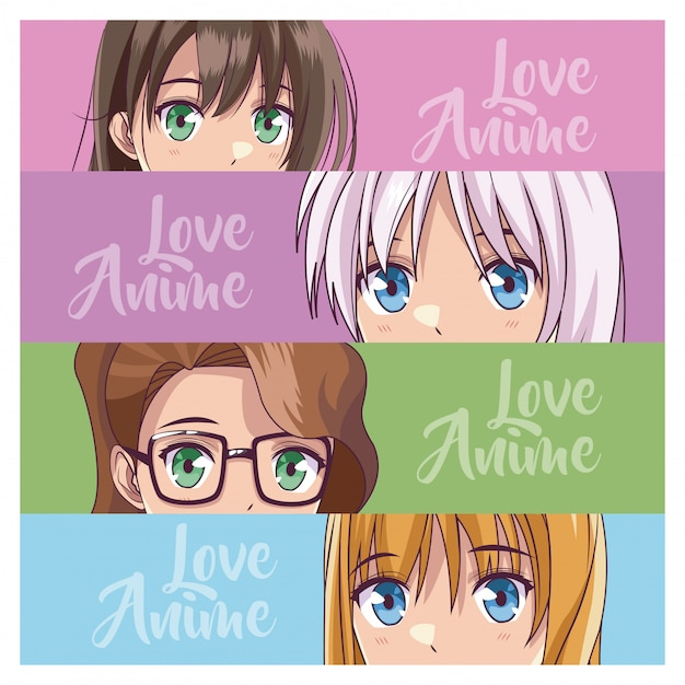 Set of anime young womens Premium Vector