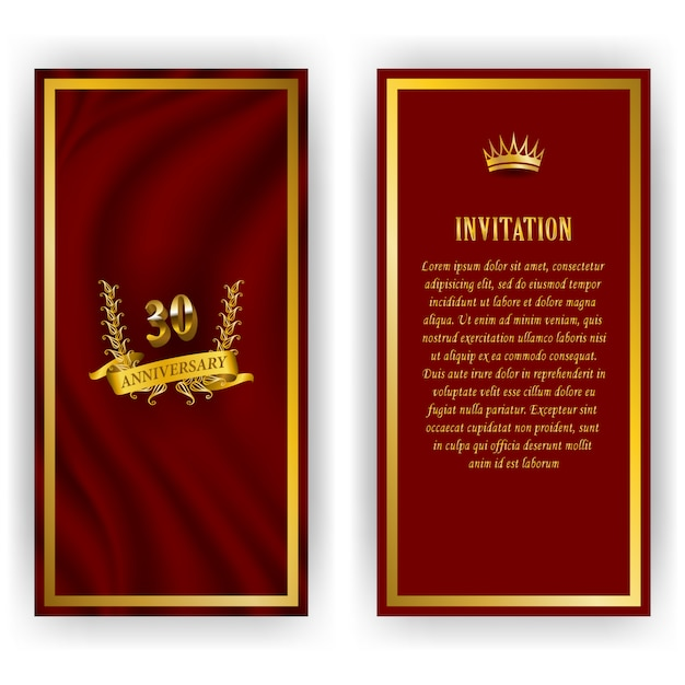 Set of anniversary card, invitation with laurel wreath, number. decorative gold emblem of jubilee on red background. filigree element, frame, border, icon, logo for web, page design in vintage style Premium Vector