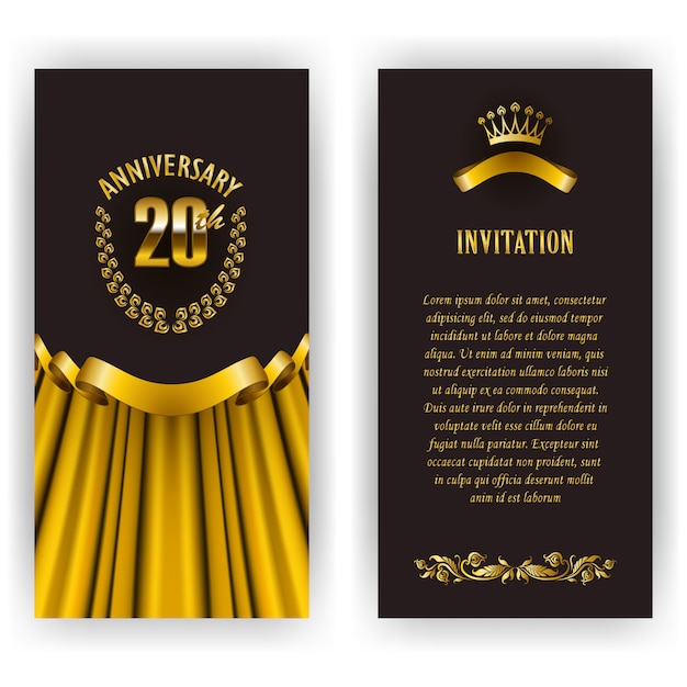 Set of anniversary card, invitation with laurel wreath and number. Premium Vector