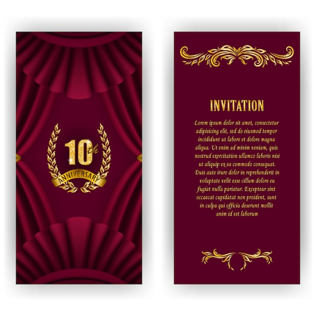 Set of anniversary card, invitation with laurel wreath, numbers. Premium Vector